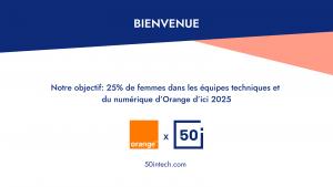 Logo de la startup 50inTech et Orange pour l'inclusion des femmes dans la tech !